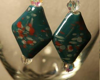 Diamond shaped glass earrings
