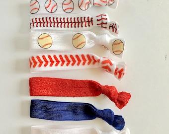 YOU CHOOSE New York Yankees elastic hair ties. FOE, baseball hair ties, New York, Yankees, hair tie sets, party favors