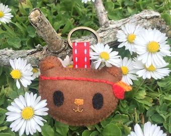 Cute bohemian felt bear keyring