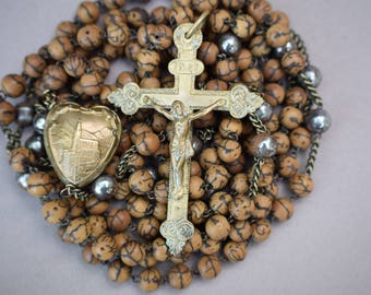 French Vintage Pilgrimage Long Lourdes Rosary - Wooden and Metal Beads - Religious France Souvenir - Monk Rosary - Gustavian Decor