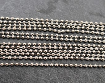 20 Inch Ball Chain with Clasp, Silver Toned