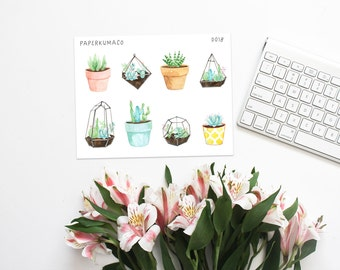 succulent plant decorations for bullet journals, planners etc. - D018