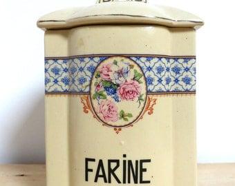 Old French box Pot flour French ceramic Vintage Flour pot ceramic kitchen decor