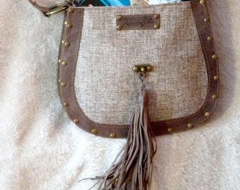 Leather Linen Bag, Brown Cream Bag, Summer Crossbody Bag, Elegant Shoulder Bag, Boho style