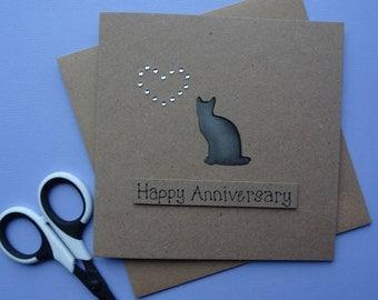 Anniversary cat card, Black cat handmade greetings card, Grey cat anniversary card, Personalised card, Happy Birthday card for Mum / Sister