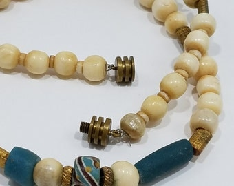 Charming Wood Beaded Necklace with Brass Beads and Clay Beads