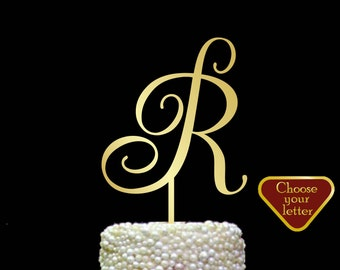 Letter R cake topper, letter cake topper gold, Wedding initial cake topper, wedding cake topper single letter, cake topper r wedding, CT#090