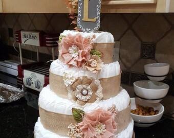 Burlap and pink Diaper Cake