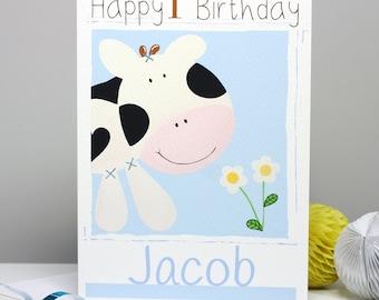 Farm Cow 1st Birthday Card, Personalised Girls Boys First Birthday, Cute Farm Animal Card for Children, Age 1 Birthday Card by Liza J design