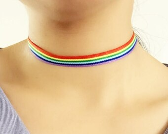 Handmade Rainbow Choker // Cute Necklace // LGBT Gay Pride // Vegan Friendly