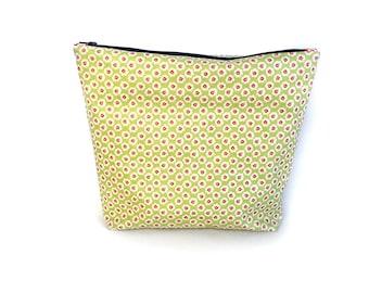Large Laminated Zipper Bag, Oilcloth Zipper Bag, Cosmetic Bag - Green Floral
