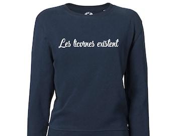 "Women's cotton bio ""unicorns exist"", vegan Sweatshirt"