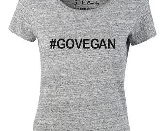 """T-shirt cotton woman bio """"#GO VEGAN"""", vegan tshirt"""