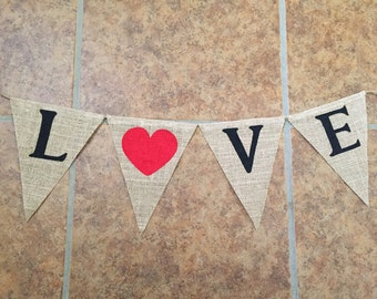 Love burlap banner love decor Valentine's Day banner Valentine's Day decor wedding banner wedding decor Valentine's Day decorations burlap