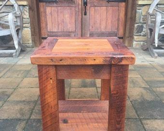 Handmade Heart Pine End Table