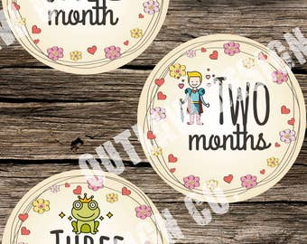 Baby Girl Monthly Milestone Markers Printable Instant Download Fairy Tale Fairytale Princess Witch Frog Owl Royal Prince Nursery Age Sticker
