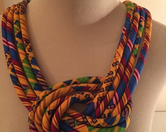 Ankara Knot Necklace, African Knot Necklace, African Style Necklace