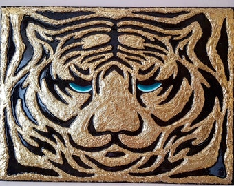 Gold Tiger. 3D Picture with Swarovski crystals
