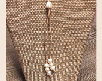 Fresh water pearl and leather necklace