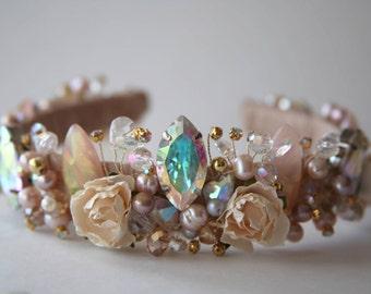 Crown ELL, Beaded Crown, Wedding Crown, Bridal Tiara, Hair Accessories, Crystal Crown, Crystal Tiara, Royal crown, Flower crown, Headband