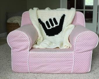 Crochet Baby Blanket, Hawaiian Baby Blanket, Shaka Blanket, Aloha Baby Blanket
