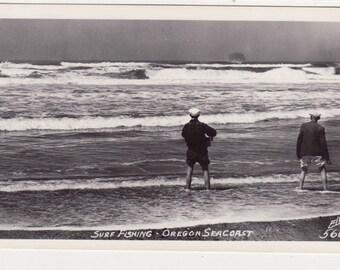 Surf Fishing Oregon Seacoast Vintage Real Photo Postcard