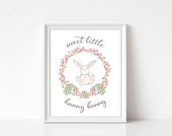 INSTANT DOWNLOAD Sweet Little Hunny Bunny Printable Art Print 8x10 Nursery Wall Decor
