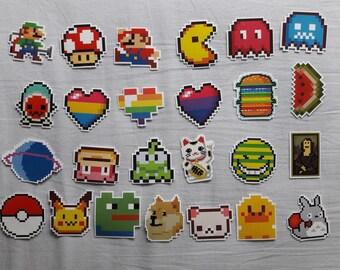 25  pixel cartoon stickers
