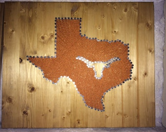 Texas with Longhorn String Art