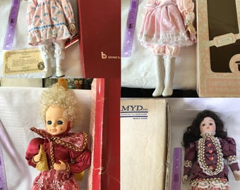 4 Porcelain Dolls With Boxes