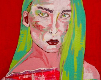 """11x14 """"Casey"""" Print, Original Acrylic Painting, Female Portrait, Contemporary Art, Red, Green, Pink"""
