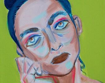 "8x8 ""Anna"" Original Acrylic Painting, Modern Portrait"