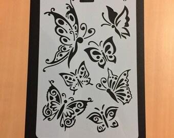 Plastic, Butterfly Stencil, Butterflies Stencil, Planner Stencil, Journal Stencil, Bullet Journal Stencil, Soft Plastic Sheet, 26 x 17.6 cm