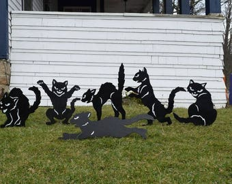 Set of 6 Halloween Black Cat Yard Art Stakes, Wood Painted Scary Cat Garden Stakes, Halloween Yard Decor, Halloween Shadow Art Silhouettes