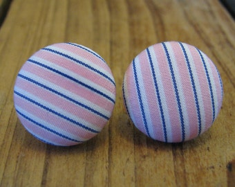 "Fabric Button Earrings, 3/4"" Round, Pink White and Blue Pinstripe"