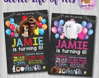 Secret Life of Pets Invitation, Secret Life of Pets Party, Secret Life of Pets Birthday, Max and Duke Invitation, Gidget Invitation, Paw-ty