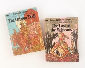 Mini Illustrated Classics - 1979 - Last of the Mohicans and Oregon Trail - Parkman - Fenimore Cooper - Vintage Children's Books - Kids Set