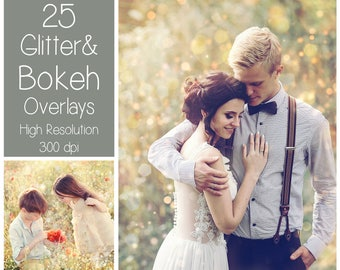 25 Bokeh Overlays - Glitter Overlays  - Light Textures - Summer Photoshop Overlays - Bokeh Textures - Sparkle Overlays  - PS Summer Effects