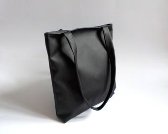 Black leather tote bag, vegan leather shopper, large custom shoulder bag, faux pu leather hobo purse, minimalist man bag, leather handbag