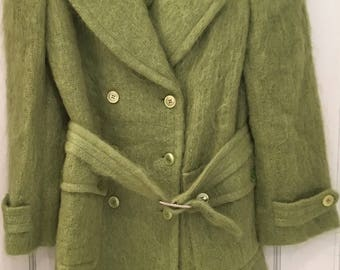 Vintage 1990s Gucci Tom Ford Iconic Runway apple Green Mohair Double Breasted Coat Jacket Boho