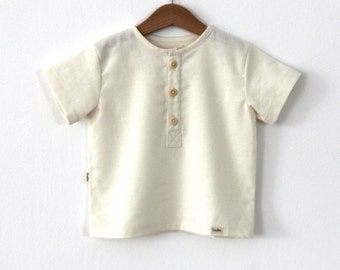 Ivory linen shirt with front buttons for boys and girls