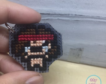 FREE SHIPPING Binding of Isaac Samson cross stitch key chain   needlepoint gaming key chain   Indie video game key chain