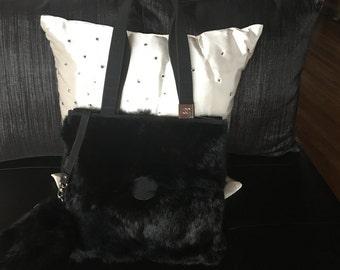 Beautiful Iconic Inspired Black Fur Handbag With Matching Wristlet