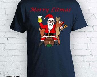 Ugly christmas sweater Funny Christmas TShirt Merry Litmas Drinking Santa Drinking Games Rudolph Litmas shirt Christmas Tumblr Funny  FEA015