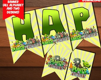 Plants VS Zombies Banner-Digital Birthday Plants Zombies Banner-Plants Zombies Party Decoration-Plants Zombies Printables Banner-DIGITAL