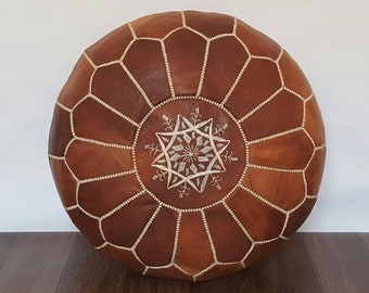 Authentic Moroccan Leather  Pouf,Handcrafted Leather Pouffe ottoman ,Footstool,P16