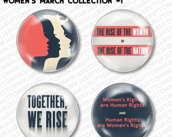 Set of 4 Mini Pins/ Buttons - WOMEN'S RIGHTS MARCH political equal rights gender equality woman girls girl power feminist