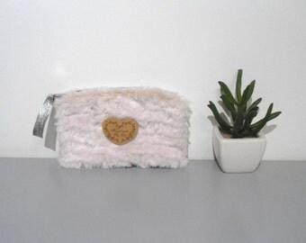 Pink Handbag, Trousse, Make up Bag, Cosmetic Bag, Handbag for Miscellaneous Items, Light Pink Fur Handbag, Heart Handbag.