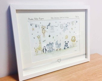Personalised Baby Pictures - Hand Drawn, Painted and Embellished to Order