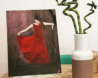 Flamenco Dancer, Dance Painting, Original Acrylic Painting, Female figure, Woman in Red dress, Woman Painting, Dancer Painting, Woman Art